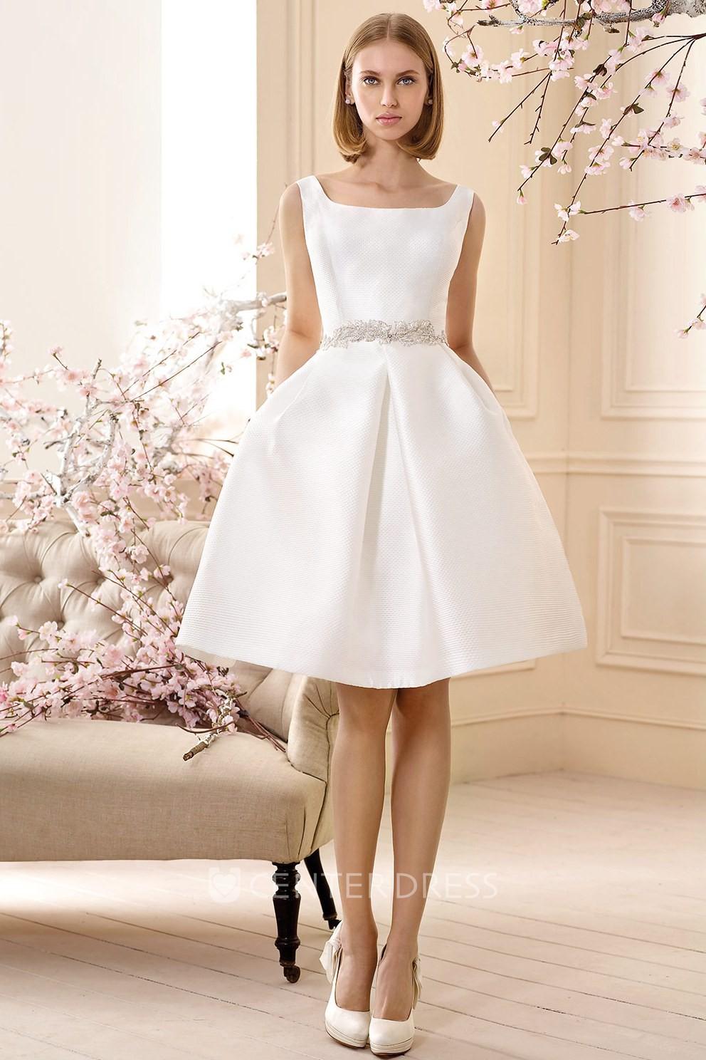 A line jeweled sleeveless short mini square neck satin for Short mini wedding dresses