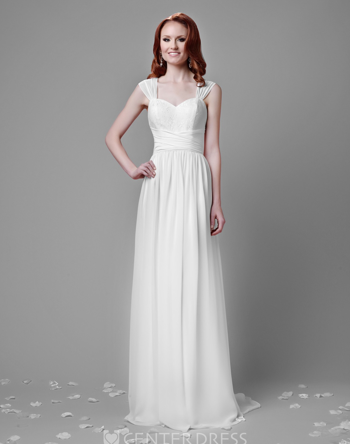 Pleated a line chiffon wedding dress with lace bust and for Cinched waist wedding dress