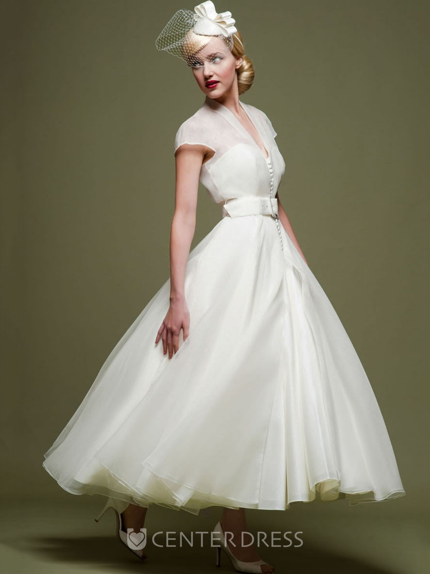 Ankle length a line ribboned v neck cap sleeve tulle for Ankle length wedding dress with sleeves