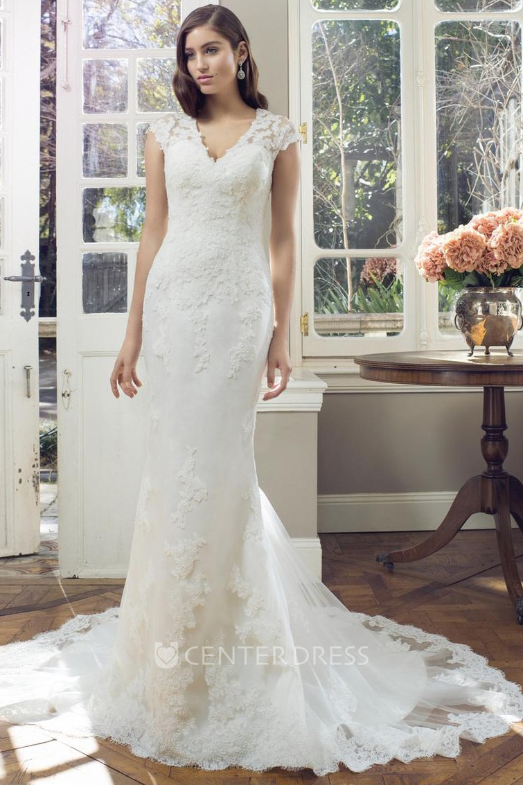 055fe949a240 Sheath Cap-Sleeve V-Neck Lace Wedding Dress With Illusion - UCenter Dress