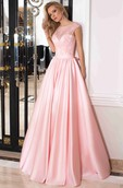 A-Line Floor-Length Scoop Cap Satin Lace Bow  Lace-Up Corset Back Dress
