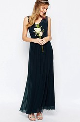 A-Line V-Neck Ankle-Length Pleated Sleeveless Chiffon Bridesmaid Dress