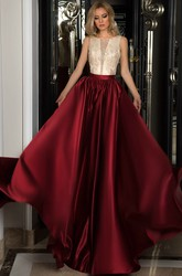 A-Line Lace Sleeveless Scoop Long Satin Prom Dress With Illusion Back And Beading