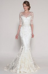 Maxi V-Neck Half Sleeve Appliqued Lace Wedding Dress With Sweep Train And V Back