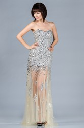 Sheath Sweetheart Sleeveless Tulle Backless Dress With Beading And Sequins