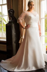 Jewel Neck A-Line Taffeta Bridal Gown With Tulle Half-Sleeve Top