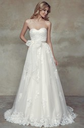 A-Line Long Sweetheart Lace Wedding Dress With Appliques And Corset Back