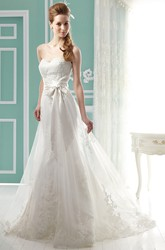 Sweetheart Long Wedding Gown with Bow Sash and Appliques