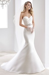 Sweetheart Satin Mermaid Wedding Dress With Pleated Bodice And Beaded Belt