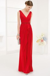 V Neck Chiffon Wrap Prom Dress Floor Length With Crystal