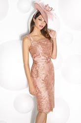 Pencil Lace Strapped Knee-Length Sleeveless Satin Prom Dress
