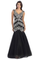 ed52805f9f4 ... Mermaid V-Neck Sleeveless Tulle Low-V Back Dress With Beading And Pleats  ...