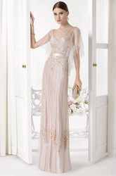 Sheath V-Neck Floor-Length Poet-Sleeve Beaded Tulle Prom Dress With Sequins And Draping