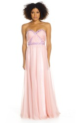 A-Line Sweetheart Ruched Long Sleeveless Prom Dress With Beading And Pleats