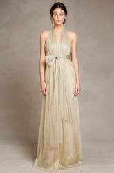 Sleeveless Bowed Empire V-Neck Tulle Bridesmaid Dress With Draping And Straps