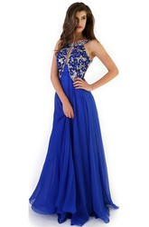 A-Line Sleeveless Floor-Length Crystal Scoop Chiffon Prom Dress With Backless Style And Pleats