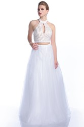A-Line Sleeveless Crop Top Tulle Prom Dress With Halter And Crystal Bodice