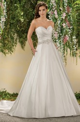 Sweetheart Criss-Crossed A-Line Gown With Pockets Detail