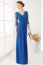 Sheath Half-Sleeve Maxi V-Neck Ruched Chiffon Prom Dress With Waist Jewellery And Beading