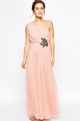 One-Shoulder Sleeveless Crystal Tulle Bridesmaid Dress With Pleats