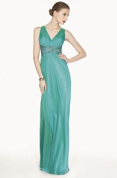 V Neck Sheath Chiffon Long Prom Dress With Back Crystal Criss Cross Straps