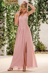 Sleeveless V-Neck A-Line Bridesmaid Dress With Lace And Front Slit