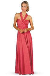A-Line Pleated Sleeveless Floor-Length V-Neck Chiffon Convertible Bridesmaid Dress With Bow