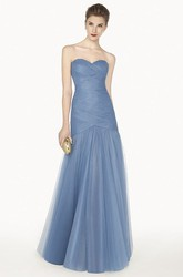 Sweetheart A-Line Tulle Long Prom Dress With Criss Cross Top