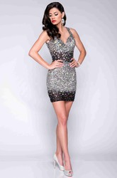 Short Form-Fitted Sleeveless V-Neck Prom Dress Covered By Rhinestones