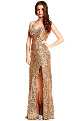 Split-Front Sleeveless Sweetheart Sequin Prom Dress With Brush Train