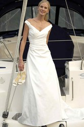 V-Neck Satin Wedding Dress With Criss Cross