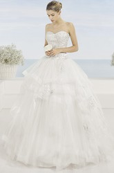 Ball Gown Draped Sweetheart Tulle Wedding Dress With Beading