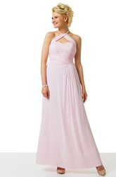 Halter Ankle-Length Criss-Cross Chiffon Bridesmaid Dress With Straps