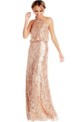 Floor-Length Sleeveless High Neck Sequin Muti-Color Convertible Bridesmaid Dress