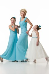 V-Neck Floor-Length Criss-Cross Chiffon Bridesmaid Dress With V Back