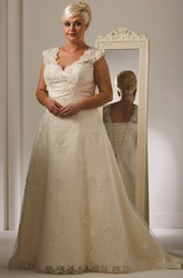 Plus Size Scalloped V Neck Allover Lace Bridal Gown With Lace Up