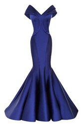 Cap Sleeve V Neckline Mermaid Satin Gown