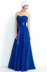 A-Line Ruched Strapless Chiffon Bridesmaid Dress With Bow