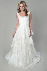 A-Line Scoop-Neck Maxi Appliqued Sleeveless Organza Wedding Dress With Tiers And Draping