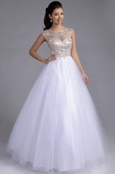 A-Line Tulle Cap Sleeve Prom Dress Featuring Rhinestone Bodice And Illusion Back