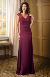 Cap-Sleeved V-Neck Mother Of The Bride Dress With Beadings And Lace Detail