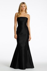 Mermaid Jeweled Strapless Satin Bridesmaid Dress With Low-V Back