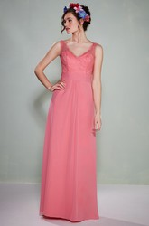 Sheath Floor-Length Lace Sleeveless V-Neck Chiffon Bridesmaid Dress With Low-V Back