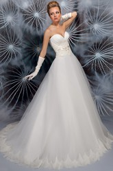 A-Line Sweetheart Appliqued Sleeveless Tulle Wedding Dress