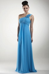 Floor-Length One-Shoulder Ruched Empire Chiffon Bridesmaid Dress With Flower