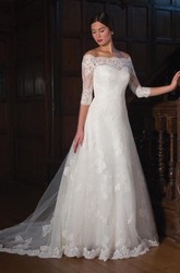 A-Line 3-4-Sleeve Off-The-Shoulder Lace&Tulle Wedding Dress With Illusion