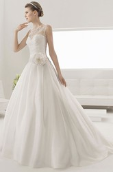 Sweetheart Lace Detailed Taffeta Gown With Flower And Removable Illusion Neck