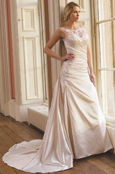 A-Line Maxi Sleeveless Scoop Criss-Cross Satin Wedding Dress With Draping And Appliques