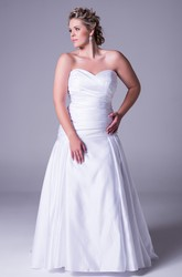 Sweetheart Satin Plus Size Wedding Dress With Criss Cross And Zipper