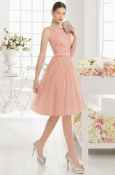 Knee-Length A-Line Bateau Neck Sleeveless Sequined Tulle Prom Dress